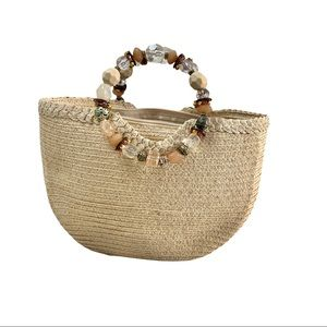 Cappelli Straworld Natural Straw Woven Handbag with Multicolored Beaded Handle